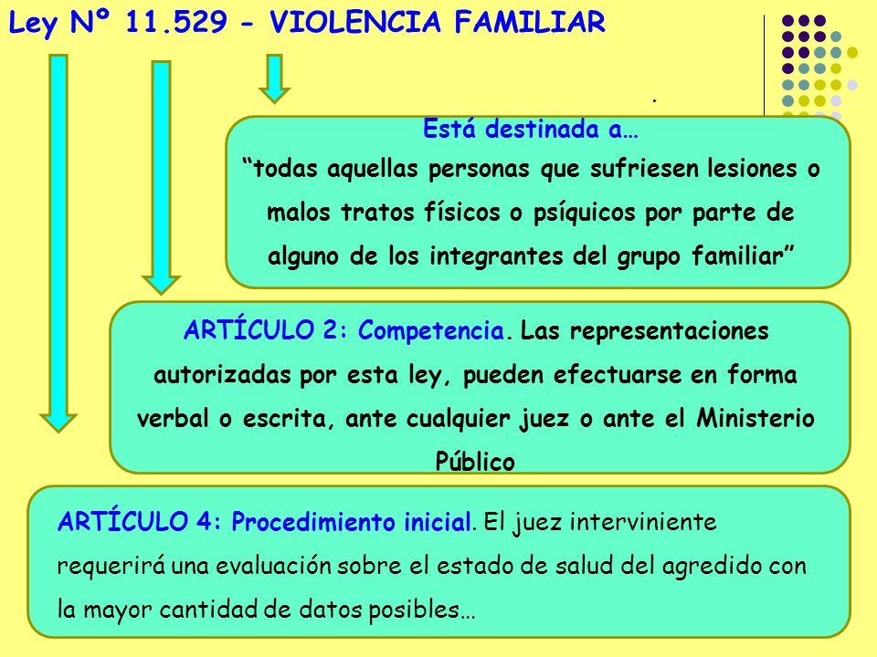 Ley Nº 11.529 - VIOLENCIA FAMILIAR Está destinada a… todas aquellas personas que sufriesen lesiones o malos tratos físicos o psíquicos por parte de alguno de los integrantes del grupo familiar ARTÍCULO 2: Competencia.