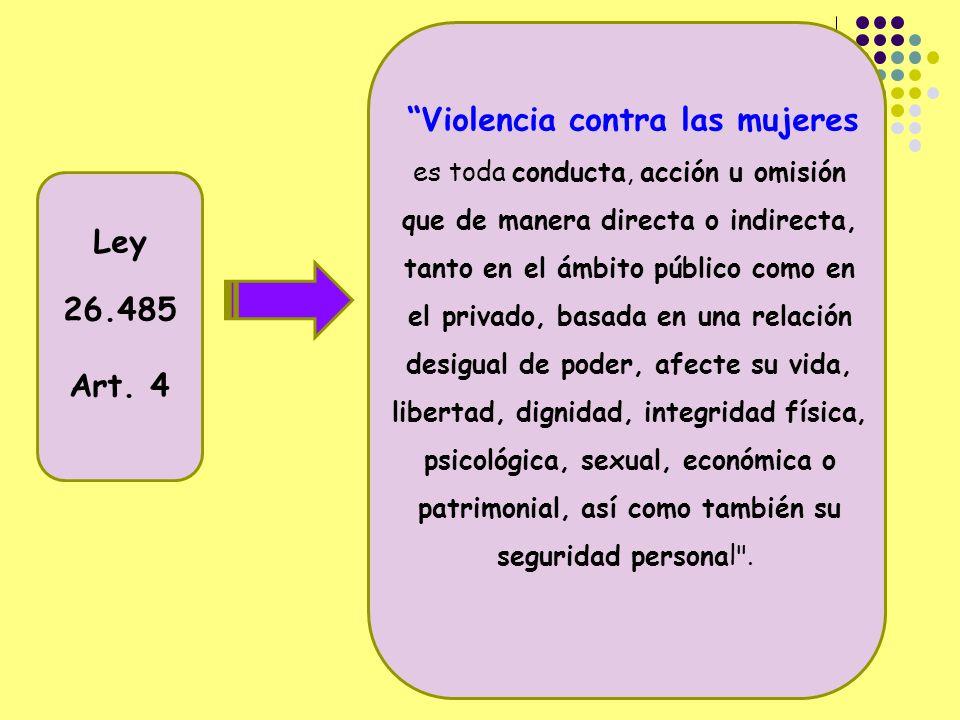 Violencia contra las mujeres es toda conducta, acción u omisión que de manera directa o indirecta, tanto en el ámbito público como en el privado, basada en una relación desigual de poder, afecte su vida, libertad, dignidad, integridad física, psicológica, sexual, económica o patrimonial, así como también su seguridad personal .