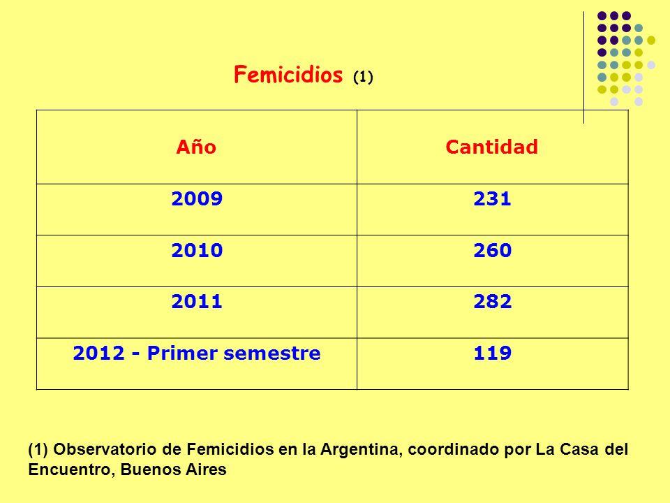 AñoCantidad 2009231 2010260 2011282 2012 - Primer semestre119 Femicidios (1) (1) Observatorio de Femicidios en la Argentina, coordinado por La Casa del Encuentro, Buenos Aires