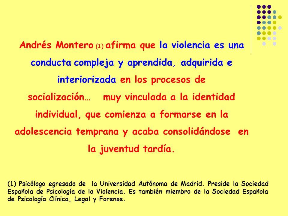 Andrés Montero (1) afirma que la violencia es una conducta compleja y aprendida, adquirida e interiorizada en los procesos de socialización… muy vinculada a la identidad individual, que comienza a formarse en la adolescencia temprana y acaba consolidándose en la juventud tardía.
