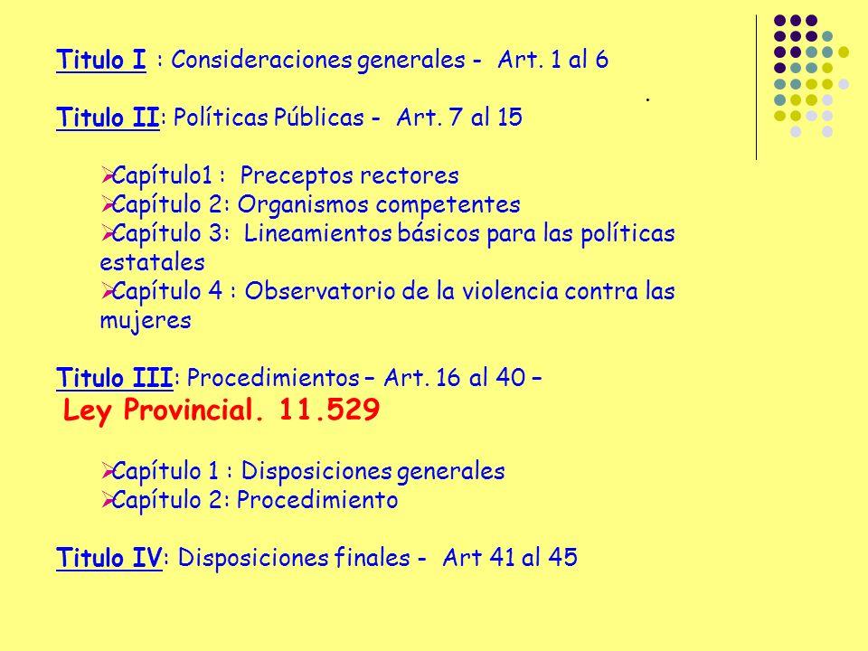 Titulo I : Consideraciones generales - Art.1 al 6 Titulo II: Políticas Públicas - Art.