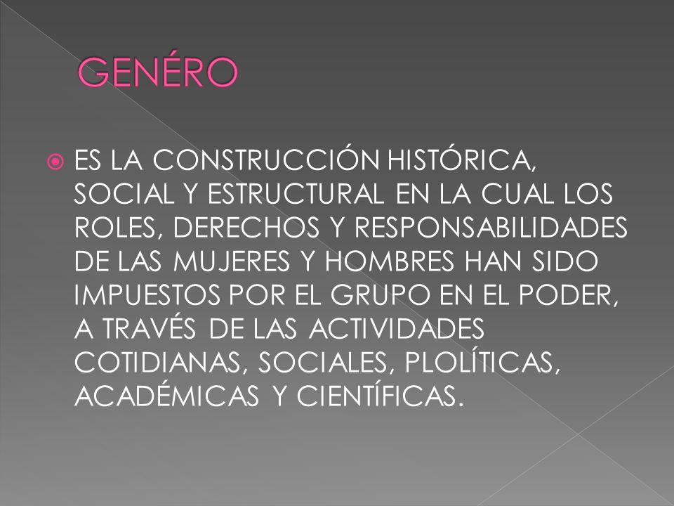 ES LA CONSTRUCCIÓN HISTÓRICA, SOCIAL Y ESTRUCTURAL EN LA CUAL LOS ROLES, DERECHOS Y RESPONSABILIDADES DE LAS MUJERES Y HOMBRES HAN SIDO IMPUESTOS POR