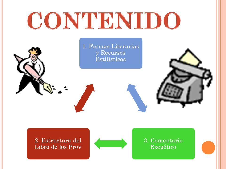 1. Formas Literarias y Recursos Estilísticos 3. Comentario Exegético 2. Estructura del Libro de los Prov