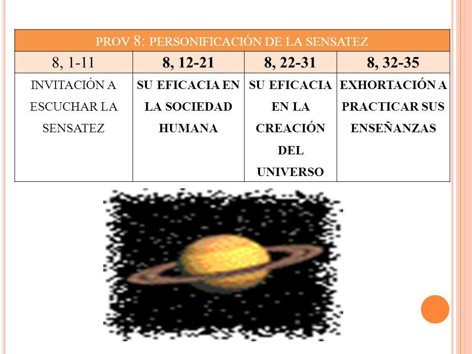 PROV 8: PERSONIFICACIÓN DE LA SENSATEZ 8, 1-118, 12-218, 22-318, 32-35 INVITACIÓN A ESCUCHAR LA SENSATEZ SU EFICACIA EN LA SOCIEDAD HUMANA SU EFICACIA