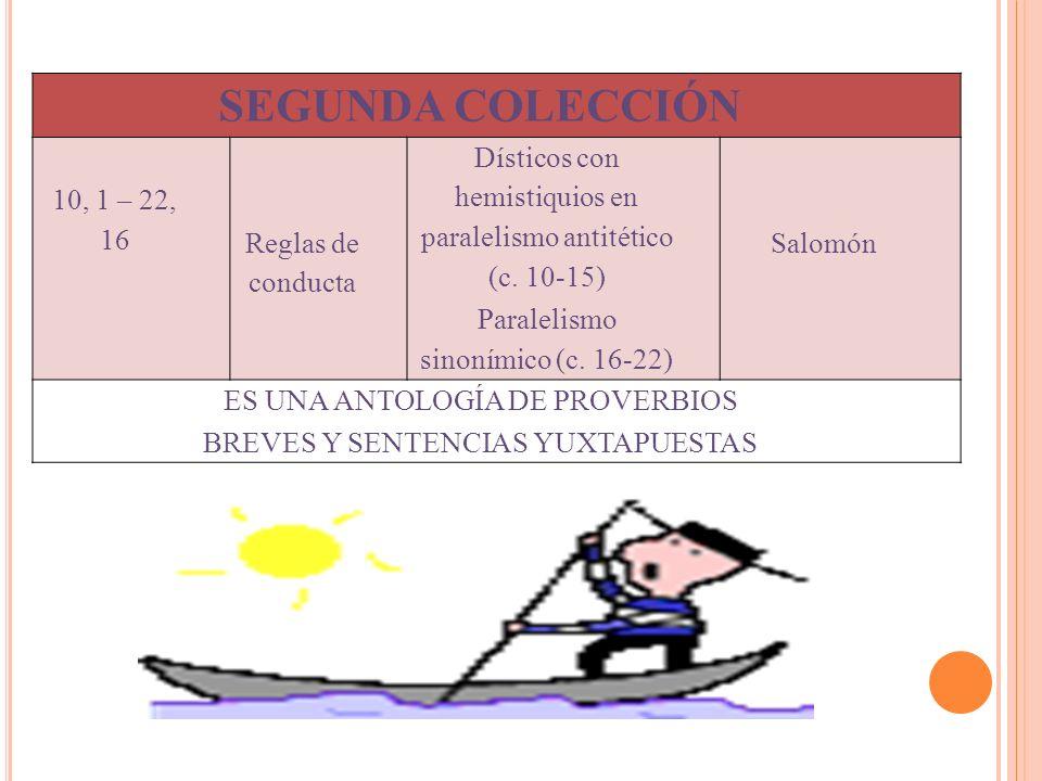 SEGUNDA COLECCIÓN 10, 1 – 22, 16 Reglas de conducta Dísticos con hemistiquios en paralelismo antitético (c. 10-15) Paralelismo sinonímico (c. 16-22) S