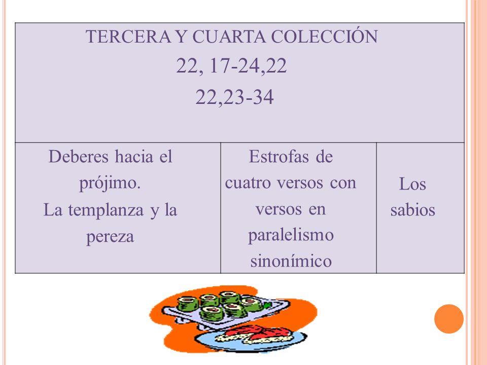 TERCERA Y CUARTA COLECCIÓN 22, 17-24,22 22,23-34 Deberes hacia el prójimo. La templanza y la pereza Estrofas de cuatro versos con versos en paralelism