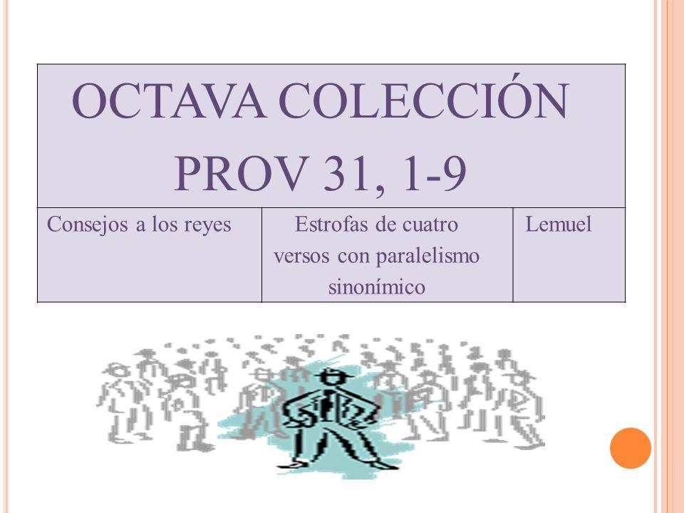 OCTAVA COLECCIÓN PROV 31, 1-9 Consejos a los reyesEstrofas de cuatro versos con paralelismo sinonímico Lemuel