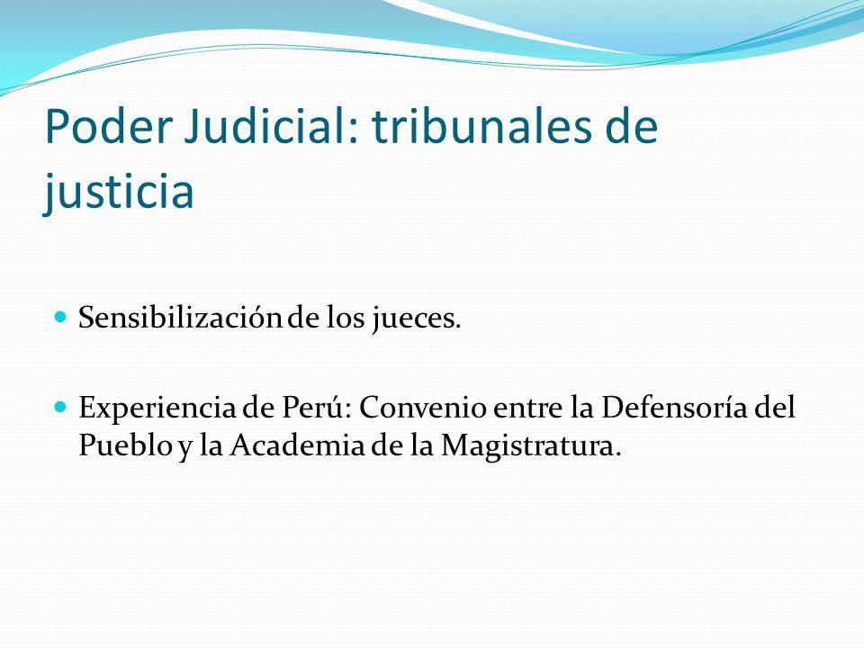 Poder Judicial: tribunales de justicia Sensibilización de los jueces. Experiencia de Perú: Convenio entre la Defensoría del Pueblo y la Academia de la