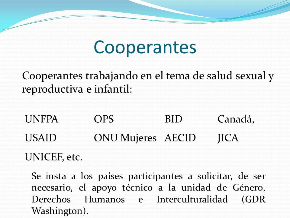 Cooperantes Cooperantes trabajando en el tema de salud sexual y reproductiva e infantil: UNFPA USAID UNICEF, etc. OPS ONU Mujeres BID AECID Canadá, JI