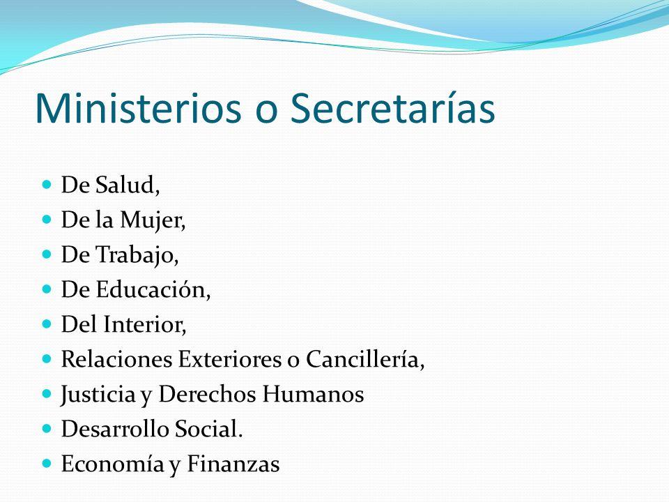 Ministerios o Secretarías De Salud, De la Mujer, De Trabajo, De Educación, Del Interior, Relaciones Exteriores o Cancillería, Justicia y Derechos Huma