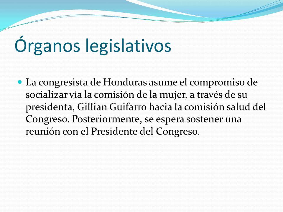 Órganos legislativos La congresista de Honduras asume el compromiso de socializar vía la comisión de la mujer, a través de su presidenta, Gillian Guif
