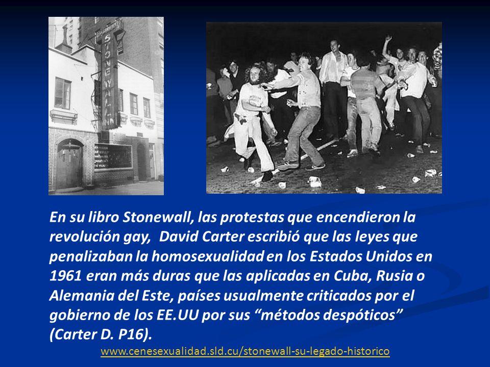 En su libro Stonewall, las protestas que encendieron la revolución gay, David Carter escribió que las leyes que penalizaban la homosexualidad en los E