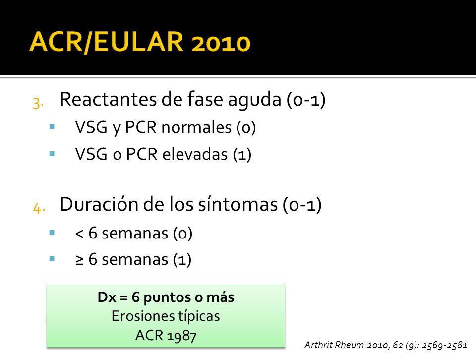 3. Reactantes de fase aguda (0-1) VSG y PCR normales (0) VSG o PCR elevadas (1) 4. Duración de los síntomas (0-1) < 6 semanas (0) 6 semanas (1) Dx = 6