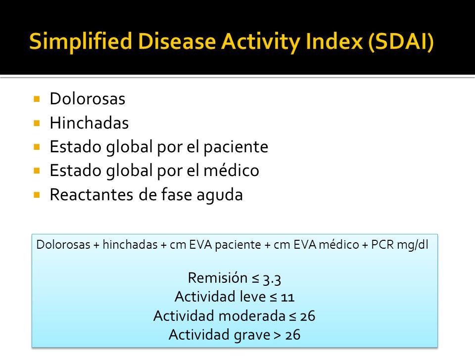 Dolorosas Hinchadas Estado global por el paciente Estado global por el médico Reactantes de fase aguda Dolorosas + hinchadas + cm EVA paciente + cm EV