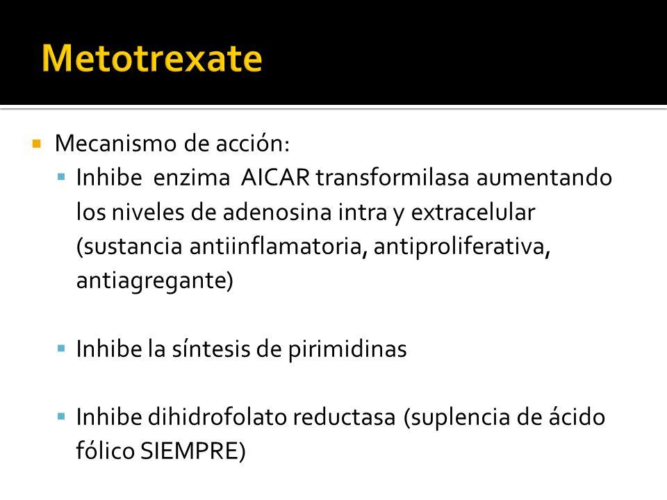Mecanismo de acción: Inhibe enzima AICAR transformilasa aumentando los niveles de adenosina intra y extracelular (sustancia antiinflamatoria, antiproliferativa, antiagregante) Inhibe la síntesis de pirimidinas Inhibe dihidrofolato reductasa (suplencia de ácido fólico SIEMPRE)