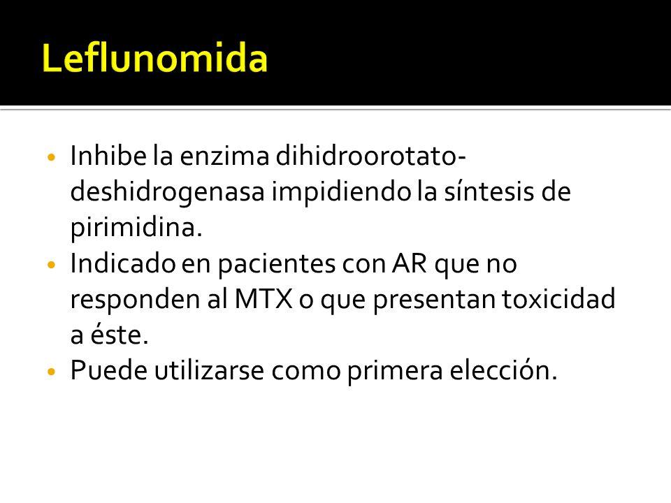 Inhibe la enzima dihidroorotato- deshidrogenasa impidiendo la síntesis de pirimidina. Indicado en pacientes con AR que no responden al MTX o que prese