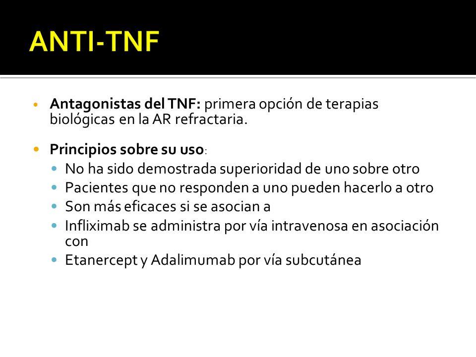 Antagonistas del TNF: primera opción de terapias biológicas en la AR refractaria. Principios sobre su uso : No ha sido demostrada superioridad de uno