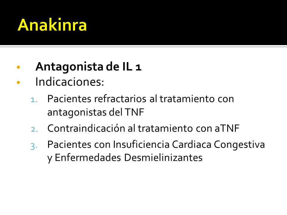 Antagonista de IL 1 Indicaciones: 1. Pacientes refractarios al tratamiento con antagonistas del TNF 2. Contraindicación al tratamiento con aTNF 3. Pac