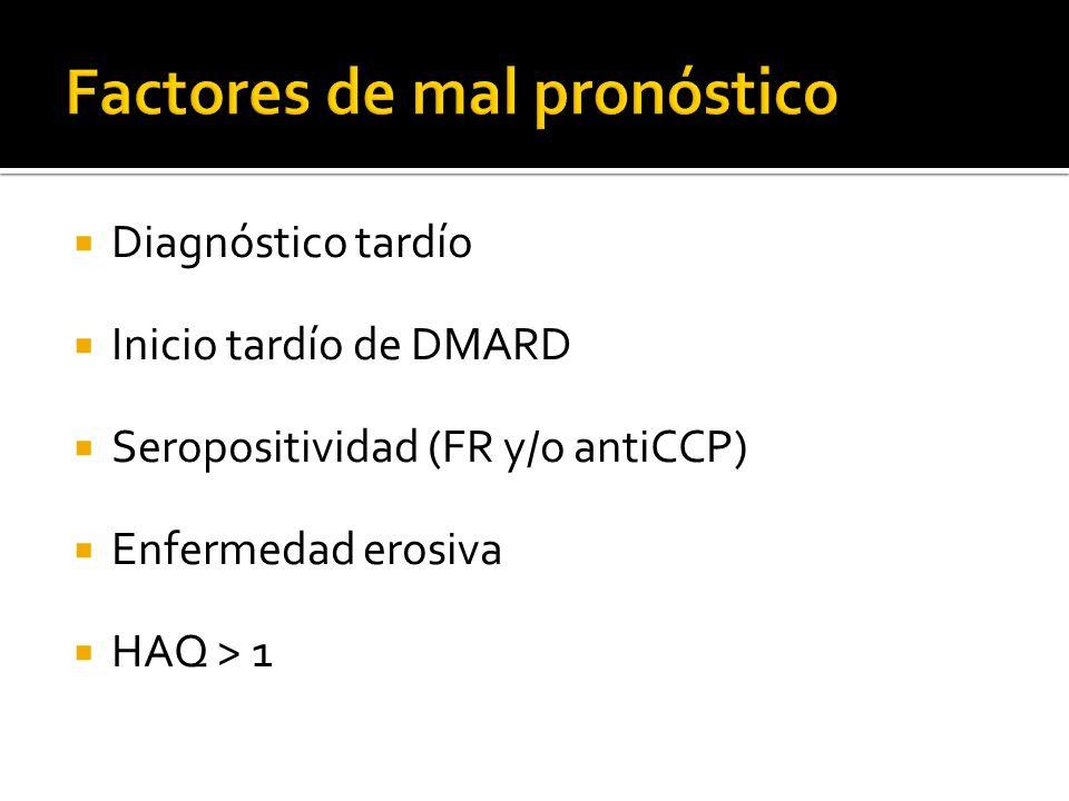 Diagnóstico tardío Inicio tardío de DMARD Seropositividad (FR y/o antiCCP) Enfermedad erosiva HAQ > 1