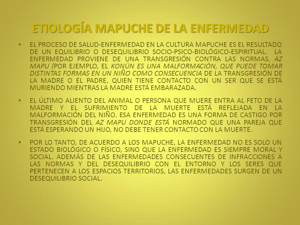 ETIOLOGÍA MAPUCHE DE LA ENFERMEDAD POR OTRO LADO, EN LA ETIOLOGÍA MAPUCHE, LA INTENCIONALIDAD DE OTRAS PERSONAS EN LAS ENFERMEDADES JUEGA UN PAPEL FUNDAMENTAL.