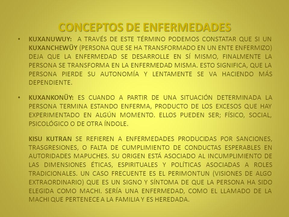 CONCEPTOS DE ENFERMEDADES RE KUTRAN QUE SE TRADUCE COMO ENFERMEDAD PURA SON UN GRUPO DE DOLENCIAS CONSIDERADAS NATURALES, ES DECIR SIN LA INTERVENCIÓN DE FUERZAS O ESPÍRITUS, COMO CHAFO (RESFRIADO/GRIPE), ALI KUTRAN (FIEBRE), KOM ANTÜ (INSOLACIÓN), PECHAY (DIARREA) Y OTRAS.