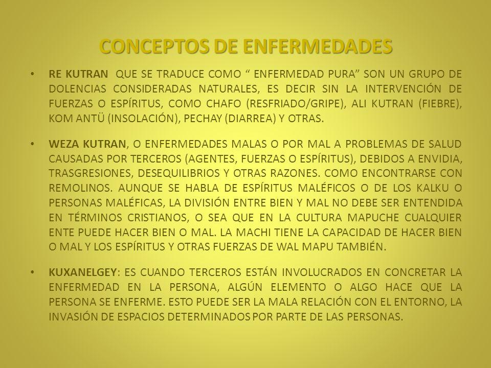 CONCEPTOS DE ENFERMEDADES MAPU KUTRAN: ENFERMEDADES QUE AFECTAN A PERSONAS QUE TRASGREDEN LAS NORMAS QUE REGULAN LA VIDA DE LOS HOMBRES Y SU ENTORNO (AZ MAPU), COMO EL KONÜN.