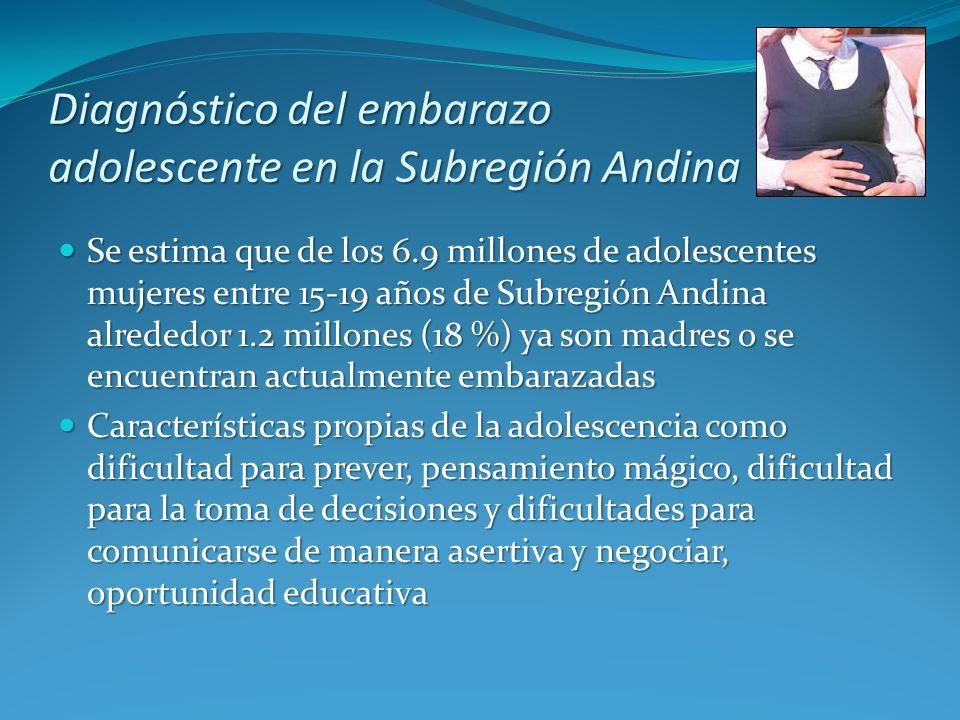 Se estima que de los 6.9 millones de adolescentes mujeres entre 15-19 años de Subregión Andina alrededor 1.2 millones (18 %) ya son madres o se encuen