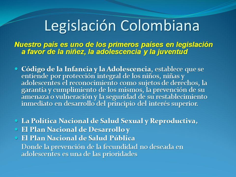 Nuestro país es uno de los primeros países en legislación a favor de la niñez, la adolescencia y la juventud Código de la Infancia y la Adolescencia,