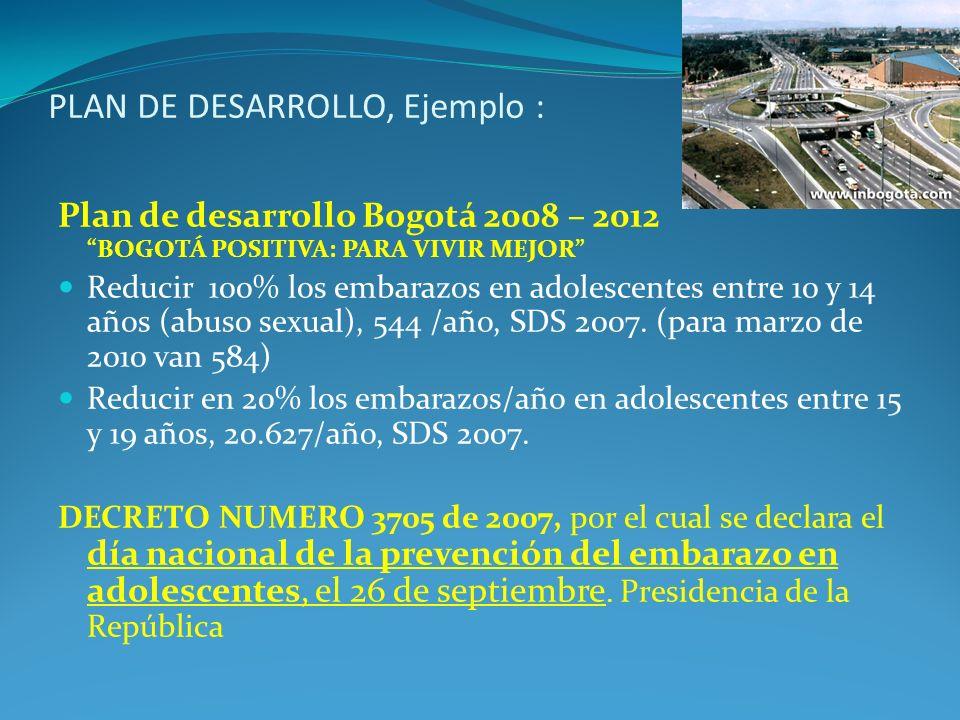PLAN DE DESARROLLO, Ejemplo : Plan de desarrollo Bogotá 2008 – 2012 BOGOTÁ POSITIVA: PARA VIVIR MEJOR Reducir 100% los embarazos en adolescentes entre
