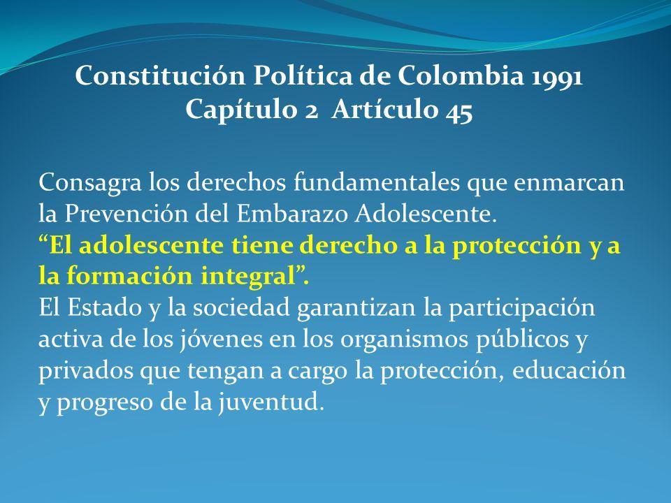 Consagra los derechos fundamentales que enmarcan la Prevención del Embarazo Adolescente. El adolescente tiene derecho a la protección y a la formación