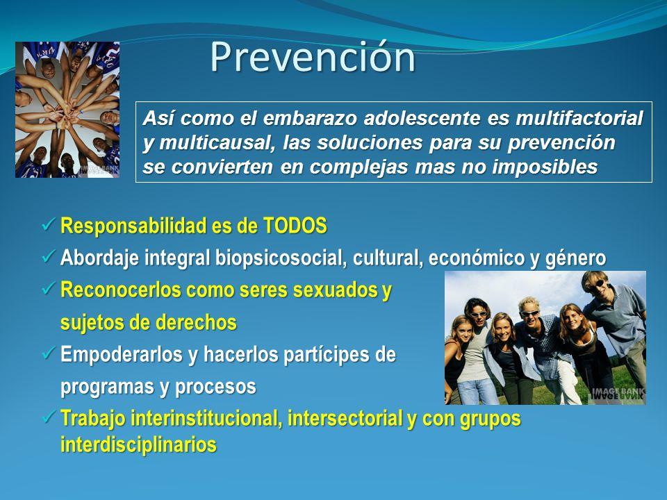 Prevención Responsabilidad es de TODOS Responsabilidad es de TODOS Abordaje integral biopsicosocial, cultural, económico y género Abordaje integral bi