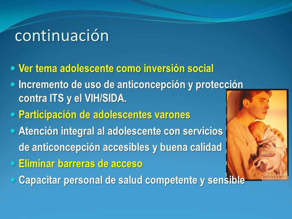 continuación Ver tema adolescente como inversión social Ver tema adolescente como inversión social Incremento de uso de anticoncepción y protección co