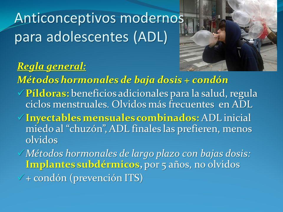 Anticonceptivos modernos para adolescentes (ADL) Regla general: Métodos hormonales de baja dosis + condón Píldoras: beneficios adicionales para la sal