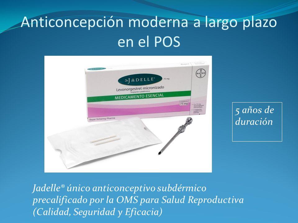 Anticoncepción moderna a largo plazo en el POS Jadelle® único anticonceptivo subdérmico precalificado por la OMS para Salud Reproductiva (Calidad, Seg