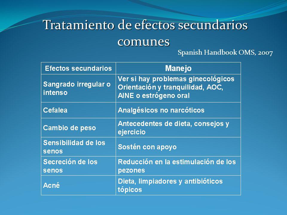 Tratamiento de efectos secundarios comunes Tratamiento de efectos secundarios comunes Spanish Handbook OMS, 2007
