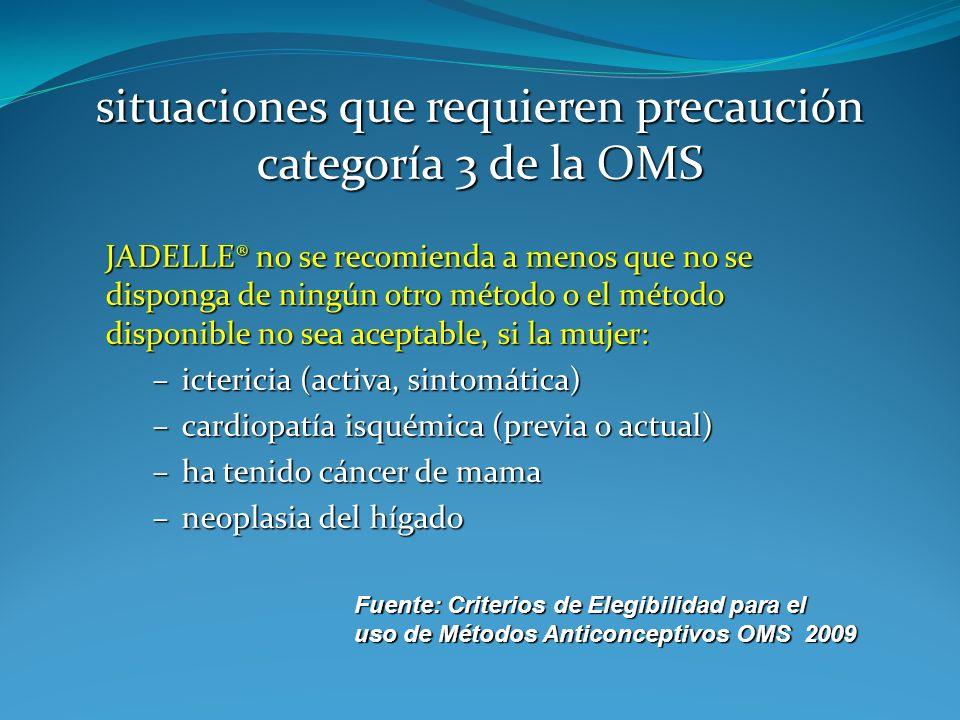 Fuente: Criterios de Elegibilidad para el uso de Métodos Anticonceptivos OMS 2009 situaciones que requieren precaución categoría 3 de la OMS JADELLE®