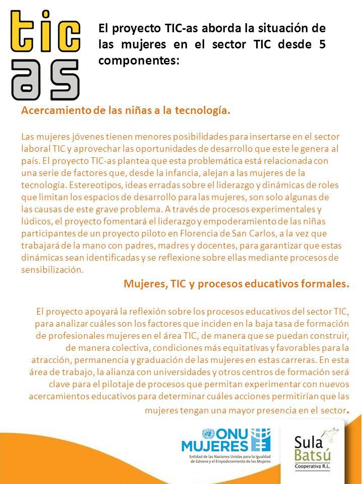 El proyecto TIC-as aborda la situación de las mujeres en el sector TIC desde 5 componentes: Acercamiento de las niñas a la tecnología. Las mujeres jóv