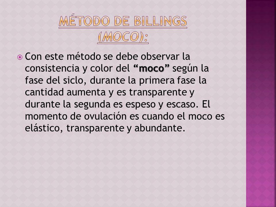 moco Con este método se debe observar la consistencia y color del moco según la fase del siclo, durante la primera fase la cantidad aumenta y es trans