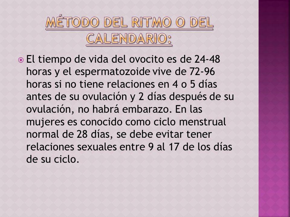 El tiempo de vida del ovocito es de 24-48 horas y el espermatozoide vive de 72-96 horas si no tiene relaciones en 4 o 5 días antes de su ovulación y 2
