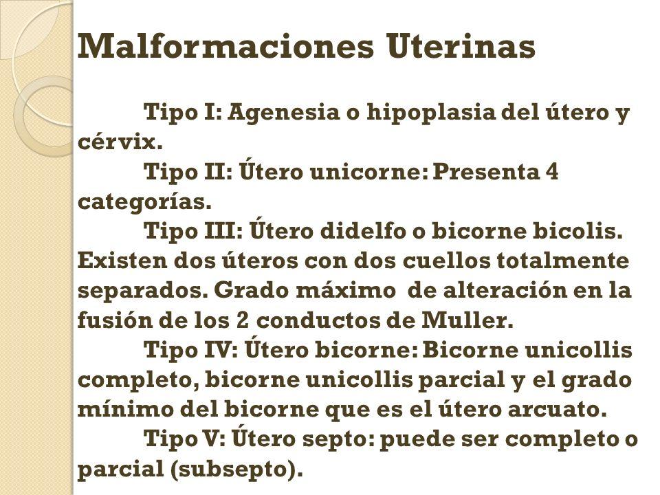 Malformaciones Uterinas Tipo I: Agenesia o hipoplasia del útero y cérvix. Tipo II: Útero unicorne: Presenta 4 categorías. Tipo III: Útero didelfo o bi