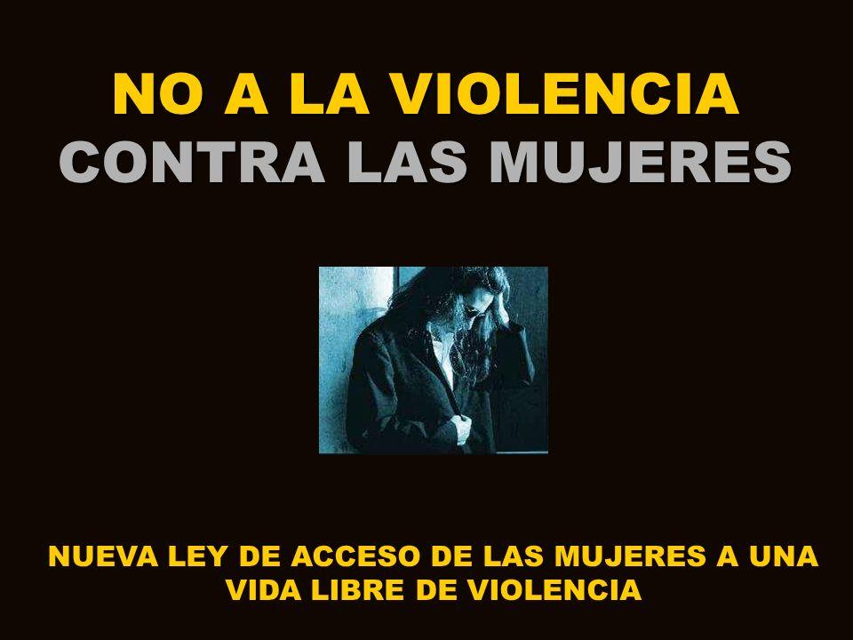 NO A LA VIOLENCIA CONTRA LAS MUJERES NUEVA LEY DE ACCESO DE LAS MUJERES A UNA VIDA LIBRE DE VIOLENCIA