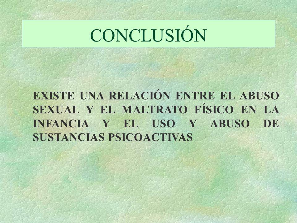 CONCLUSIÓN EXISTE UNA RELACIÓN ENTRE EL ABUSO SEXUAL Y EL MALTRATO FÍSICO EN LA INFANCIA Y EL USO Y ABUSO DE SUSTANCIAS PSICOACTIVAS