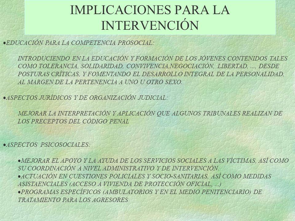 IMPLICACIONES PARA LA INTERVENCIÓN EDUCACIÓN PARA LA COMPETENCIA PROSOCIAL: INTRODUCIENDO EN LA EDUCACIÓN Y FORMACIÓN DE LOS JÓVENES CONTENIDOS TALES