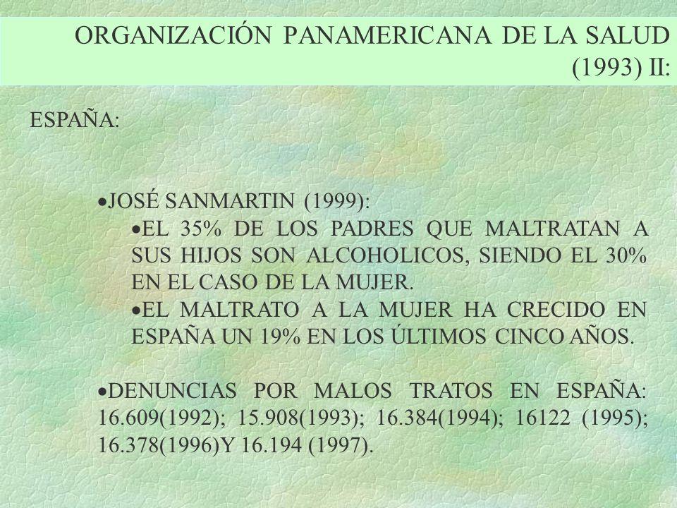 ORGANIZACIÓN PANAMERICANA DE LA SALUD (1993) II: ESPAÑA: JOSÉ SANMARTIN (1999): EL 35% DE LOS PADRES QUE MALTRATAN A SUS HIJOS SON ALCOHOLICOS, SIENDO
