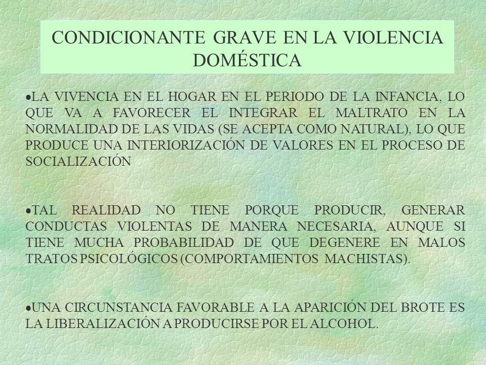 CONDICIONANTE GRAVE EN LA VIOLENCIA DOMÉSTICA LA VIVENCIA EN EL HOGAR EN EL PERIODO DE LA INFANCIA, LO QUE VA A FAVORECER EL INTEGRAR EL MALTRATO EN L