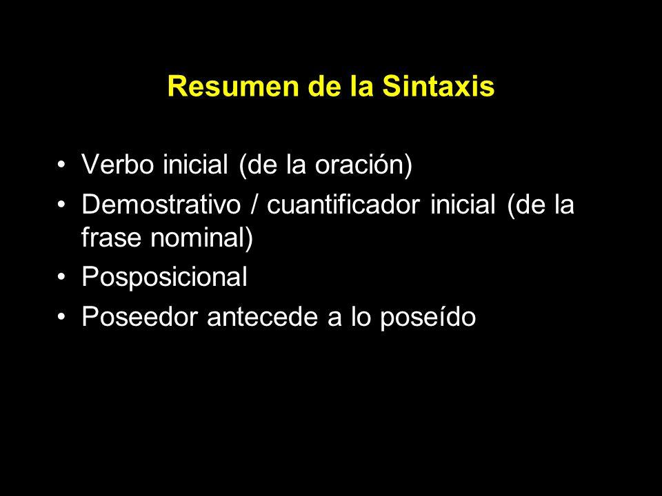 Resumen de la Sintaxis Verbo inicial (de la oración) Demostrativo / cuantificador inicial (de la frase nominal) Posposicional Poseedor antecede a lo poseído
