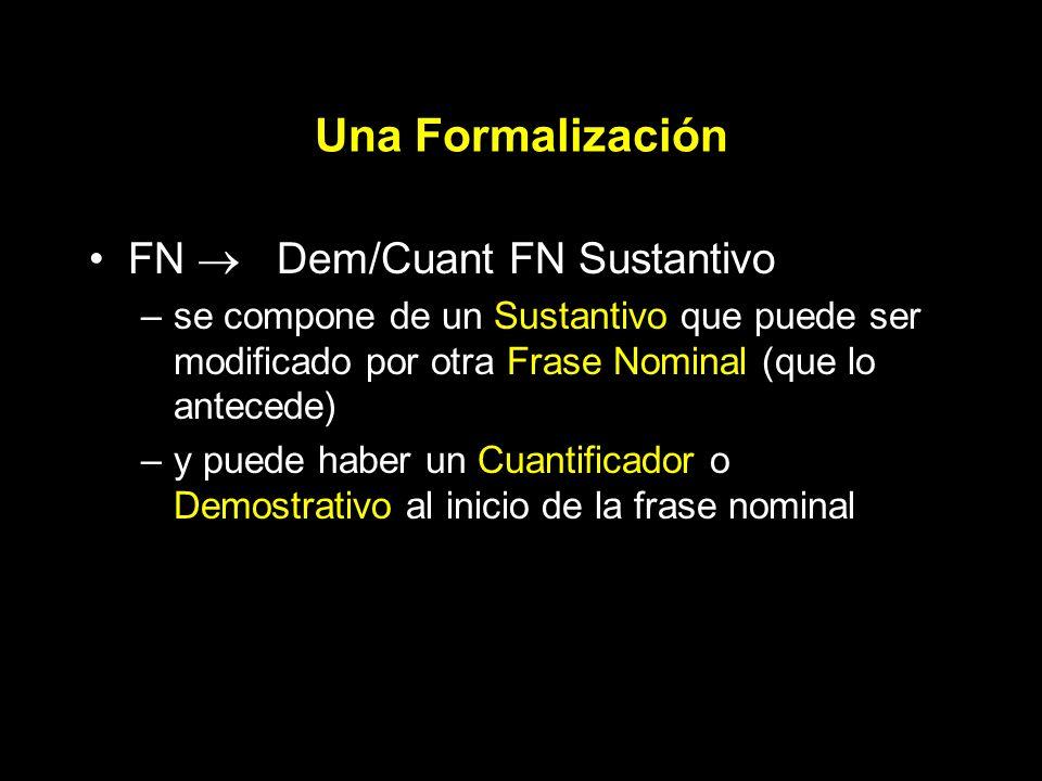 Una Formalización FN Dem/Cuant FN Sustantivo –se compone de un Sustantivo que puede ser modificado por otra Frase Nominal (que lo antecede) –y puede haber un Cuantificador o Demostrativo al inicio de la frase nominal