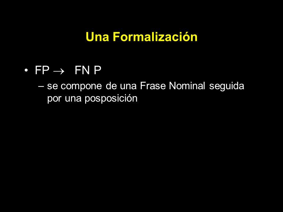 Una Formalización FP FN P –se compone de una Frase Nominal seguida por una posposición