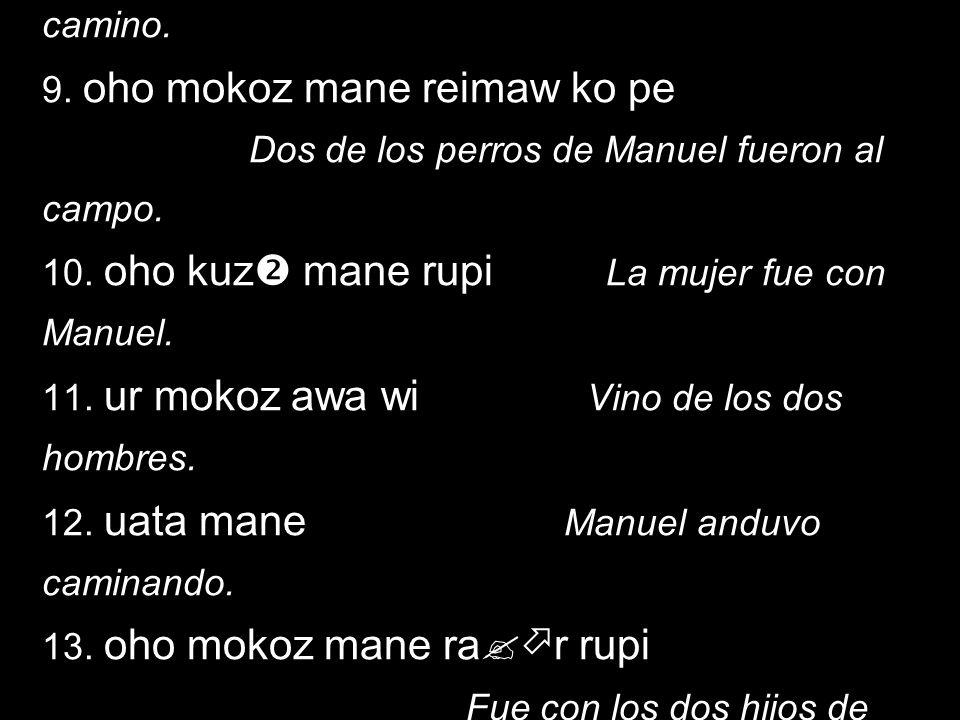 1.oho kuz ko pe La mujer fue al campo. 2. oho kwez kuz taw pe Esa mujer fue al pueblo.