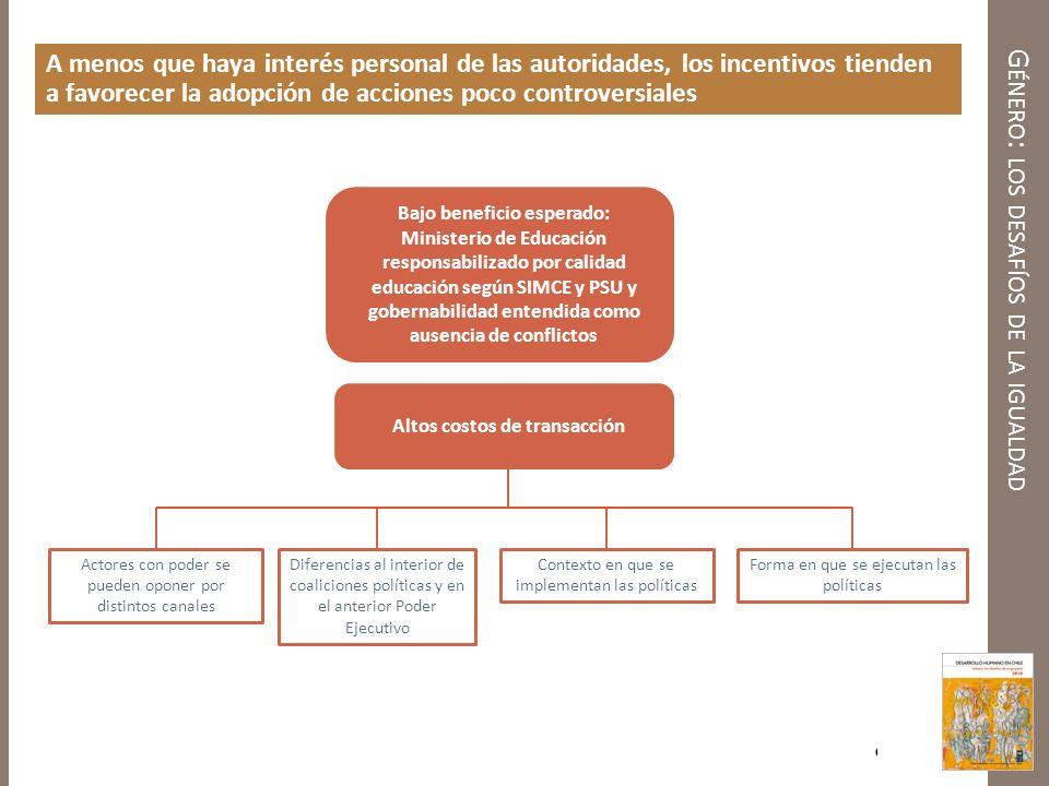 G ÉNERO : LOS DESAFÍOS DE LA IGUALDAD A menos que haya interés personal de las autoridades, los incentivos tienden a favorecer la adopción de acciones